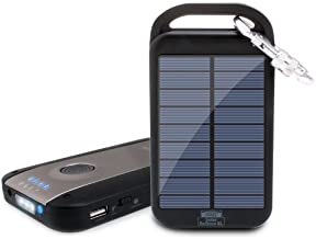 Revive Solar Charger 6000mAh Outdoor Portable Charger Solar Power Bank 2.1A USB External Battery Power Pack with LED Flashlight & Carabiner Clip for Apple iPhone, Samsung, Pixel (DC5V/1000mA Input)