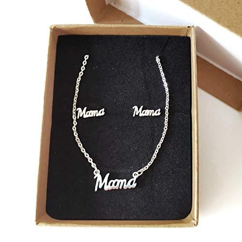 Collar MAMA y Pendientes MAMA. Regalo madre, regalo mujer, regalo abuela
