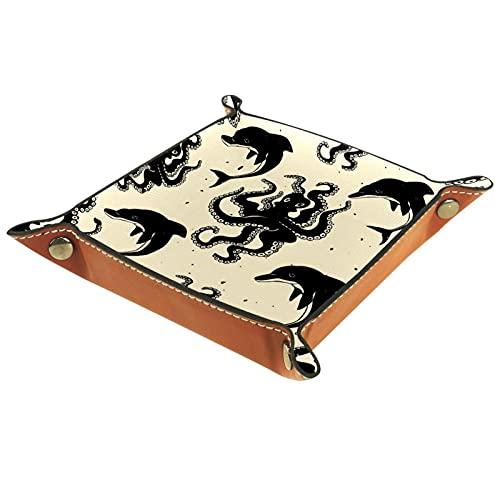 Patrón lindo de la vendimia con el pulpo y la bandeja de cuero de los delfines para la moneda dominante de la joyería del teléfono