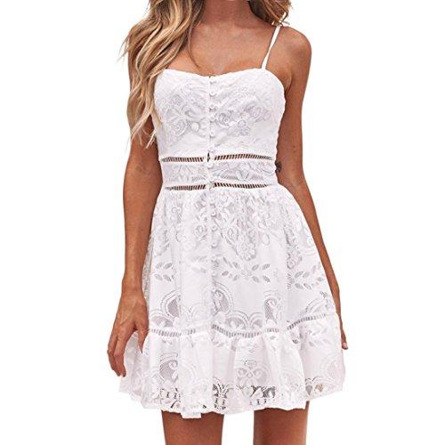 Overdose BotóN Floral De Las Mujeres del Verano De La Flor Atractiva Strappy Sling Vacaciones CóModa Playa SPA Ruffles Backless White Lace Dress