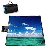 End Nazi Manta de Picnic del mar Caribe y el Cielo Azul con colchoneta de Picnic Plegable para el Camping Beach Park Lawn