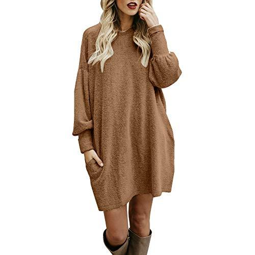 iHENGH Damen Winter Warm Bequem Pullover Mantel Lässig Mode Frauen Solide Oansatz Tasche Lange Langarm Lässige Lose Jacke Coat(Khaki,M)