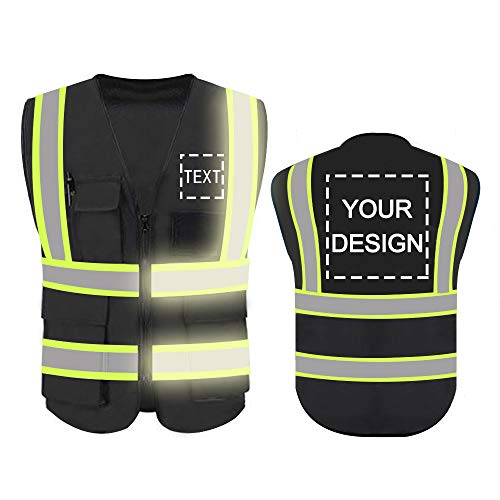 High Visibility Reflective Safety Vest Customize Logo With 5 Pockets Hi Vis Vest Outdoor Protective Workwear (Black (3XL))