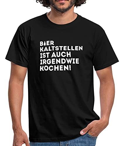Bier Kaltstellen Ist Auch Kochen Witziger Spruch Männer T-Shirt, XL, Schwarz