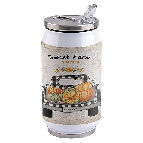 15oz Stainless Steel Liner Vacuum Tumbler Thanksgiving Pumpkin Truck Thermal Insulation Vacuum Cup with Straw & Slider Lid Vintage Newspapers Portable Cola Can for Travel, Sports, Camping