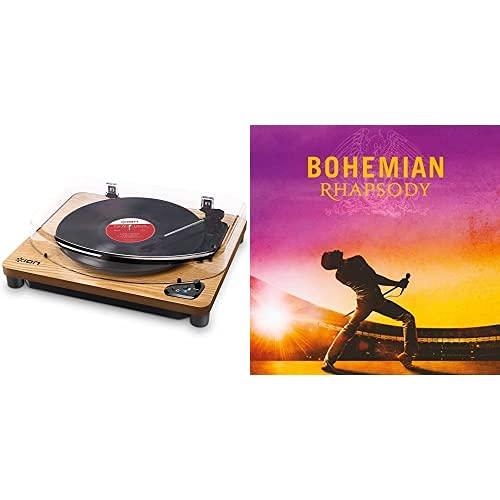 Ion Audio Air Lp Wood - Tocadiscos De Vinilo Bluetooth - Reproducción Inalámbrica Y Conversión De Discos De 3 Velocidades - 33 1/3, 45 Y 78 Rpm, Acabado Madera + Bohemian Rhapsody [Vinilo]