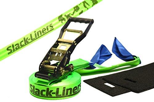 Slack-Liners 4 Teiliges Slackline-Set LEUCHTGRÜN - 50mm breit, 15m lang - mit Langhebelratsche Made in Germany