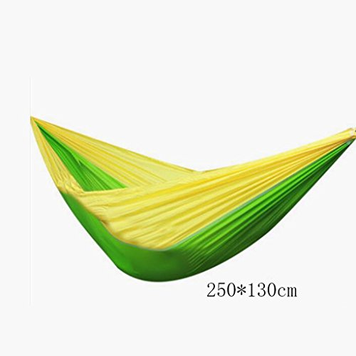 Hamac Outdoor hamac camping camping balançoire hamac hammock alpinisme hamac vert parachute nylon hamac hamac de toile (sac de rangement * 1, corde enfant * 2, crochet * 2), (250 * 130cm)