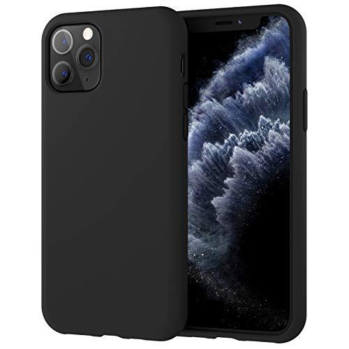 JETech Funda de Silicona Compatible con iPhone 11 Pro, 5,8 Pulgadas, Sedoso-Tacto Suave, Funda Protectora de Cuerpo Completo, Cubierta a Prueba de Golpes con Forro de Microfibra (Negro)