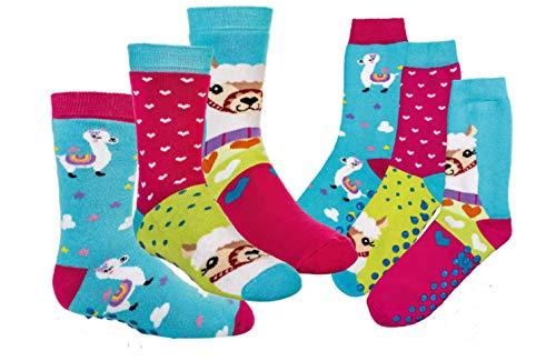 TippTexx 24 6 Paar Kinder Thermo Stoppersocken, ABS Socken für Mädchen und Jungen, Ökotex Standard, Strümpfe mit Noppensohle, viele Muster (Lama, 23-26)