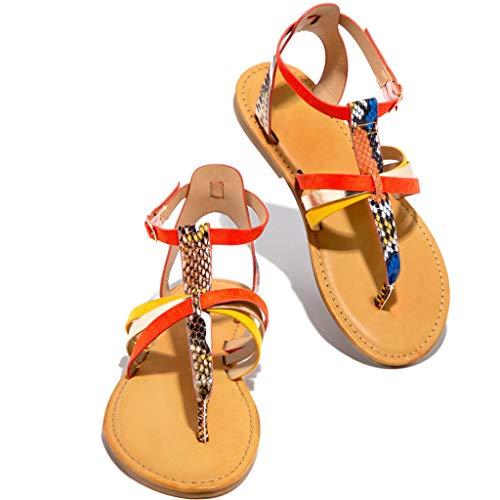 Sandalias Mujeres Moda Verano Plano Talla Grande Bohemia Clip Toe Dulce con Cuentas Sandalias Casuales Zapatos De Playa Sandalias Romanas Chanclas De Damas
