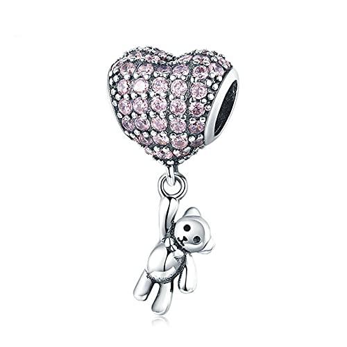 XIAOLW Fashion Jewelry - Collar de plata de ley 925 con forma de mariposa y corazón, 3 mm, para mujeres y niñas (oso de corazón)