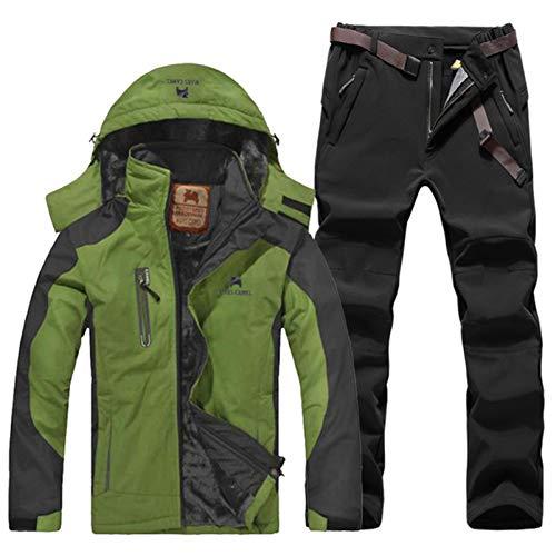 ESFHWYP Herren Skianzug Set Winter Wandern Skifahren Wasserdichtes Fleece Warme Jacken Angeln Trekking Skijacke + Hose Color-2 L