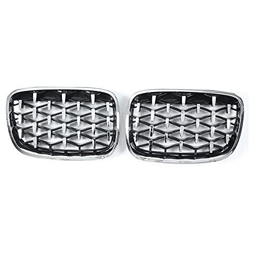 ZQCJDM Front Ridney Grill, E70 E71 E72 X5 X6 2007-2013 Parrillas de Diamond de Coche Cromado Mesh Grille Accesorios DE Coches 2 Parte/Set,Full Silver
