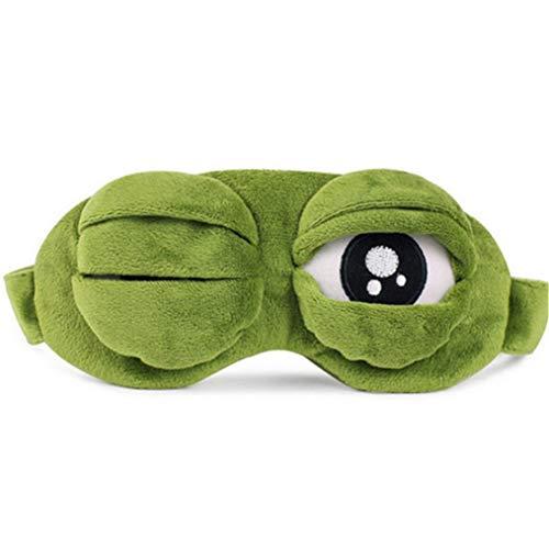 ODN 3D Cartoon Premium Schlafmaske Frosch Augenmaske Blackout Brille Eyeshade Für Tiefen Schlaf und Optimale Erholung