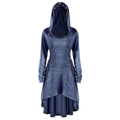 VEMOW Karneval Cosplay Party Ballkleid Damen Mode Langarm Mit Kapuze Mittelalterliches Kleid Bodenlangen Cosplay Kleid(X2-Marine, 36 DE/L CN)