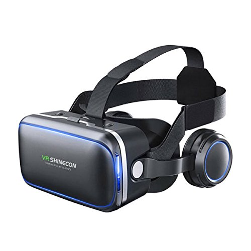 Hangang Gafas de Realidad Virtual,Panorámicas 360 con Auriculares estéreo incorporados,Experiencia de inmersión de Gran visión Auriculares HD VR para Juegos VR y películas 3D compatibles