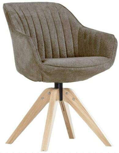 Gutmann Limited Sessel Chill Stoff Massivholz Natur Wohnzimmer Esszimmer (312/7 - Samtig Braun/Grau)