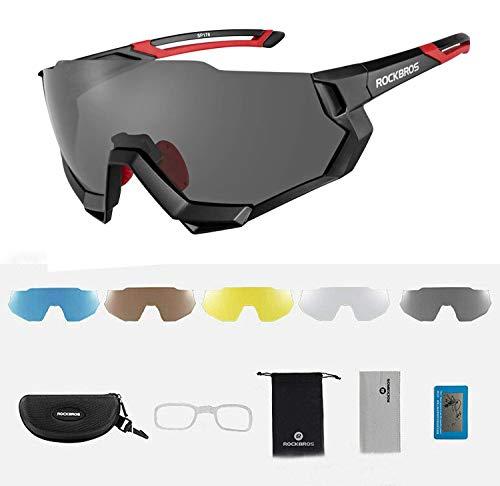 ROCKBROS Occhiali da Sole Ciclismo Anti-UV 400, Occhiali Polarizzati con 5 PC Lenti Intercambiabili, Occhiali Sportivi per MTB Bici Leggeri, Uomo Donna