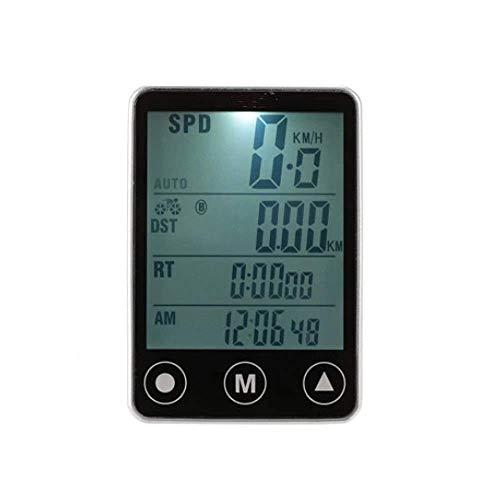 ZSM Bike Computer Botón inalámbrico Multifuncional LCD Bicycle Computer Odómetro Speedómetro Ciclismo Ordenador (Color: Plata, Tamaño: Un tamaño) YMIK (Color : Silver, Size : One Size)