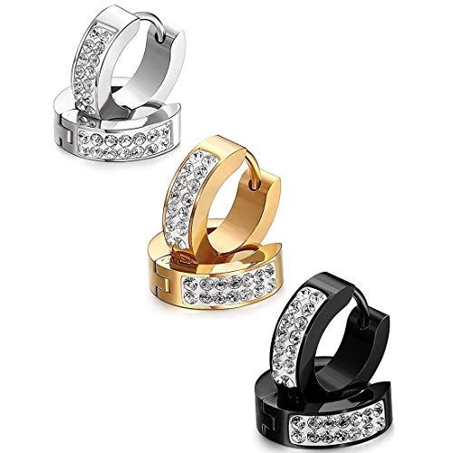 Un par hombre mujer elegante Pendientes de aro pendientes pendientes, Punk Rock Estilo Pendientes de oro con brillantes, plata negro plata (3 colores)