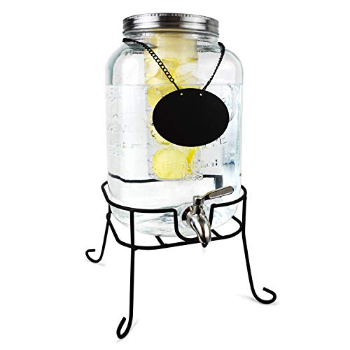 Glass Beverage Dispenser with Fruit Infuser - Ice Cold Drink Container Metal Stand Set Chalkboard Outdoor Server - 1 Gallon Stainless Steel Spigot