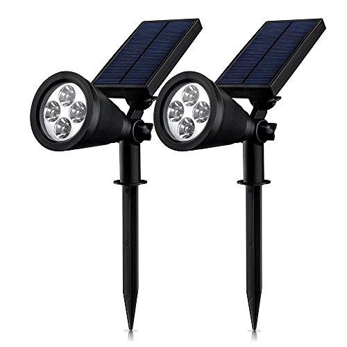 Juste Projecteur Solaire 180 Angle Réglable Lampe Solaire 4LEDs Imperméable Extérieur autonomie on/off éclairage de sécurité pour Garage, Chemin, Jardin, Cour, Terrasse, Patio (2, blanc)