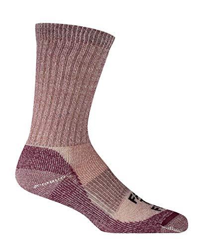 Farm to Feet Unisex Boulder Medium Weight Merino Wool Hiking Crew Socks, Zinfandel, Small