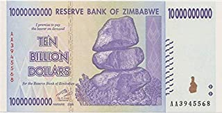 Zimbabwe 10 Billion Dollars 2008, World inflation record, currency banknotes P85 by RBZ