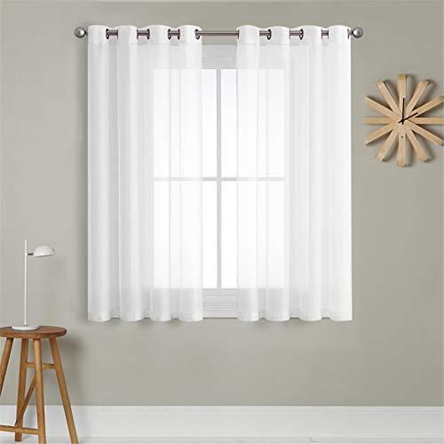 MRTREES Voile Gardinen Vorhang halbtransparent kurz mit Ösen in Leinenoptik Stores Gardinen Schals für Wohnzimmer Schlafzimmer Kinderzimmer Weiß 137×140cm (H×B) 2er Set
