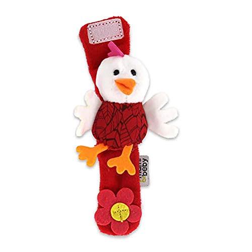 Da.Wa Infantil Piezas Animal del Bebé de la Muñeca de la Muñeca Traqueteos Correa de Muñeca Suave Juguete Educativo para Bebés (Rojo Pollito)