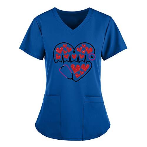 HEVÜY Damen Arbeitskleidung Uniformen, Liebesherz Drucken Mediznischer V-Ausschnitt Kurzarm Schlupfkasack Damen Übergröße Kasack Pflege mit Taschen, Krankenpfleger Berufskleidung Nurse