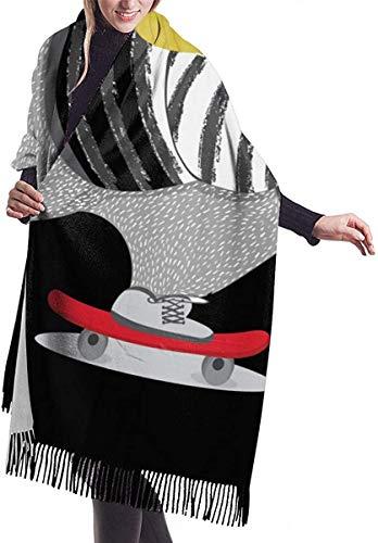 Schattige Beer Skateboard Vector Ontwerp Dier Zachte Cashmere Sjaal Wrap Sjaals Lange Sjaals Voor Vrouwen Office Party Reizen 68X196 cm