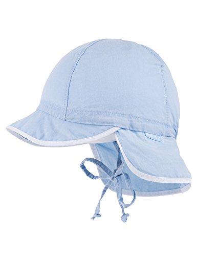 maximo Baby-Jungen Schildmütze, Waschoptik, Nackenschutz, Bindeband Mütze, Blau (Cerulean 21), 45