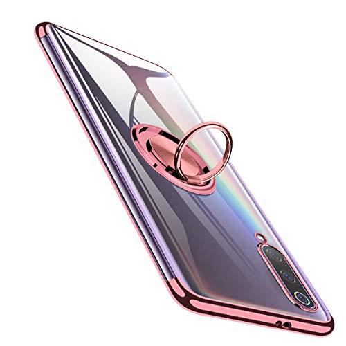 BOMIZI Hülle für Xiaomi Mi 9 Case Transparent TPU Dünne Schutzhülle Weiche Silikon Case Handyhülle mit 360 Grad Ring Stand für Magnetische Autohalterung, Stoßfest Klar Cover - Roségold