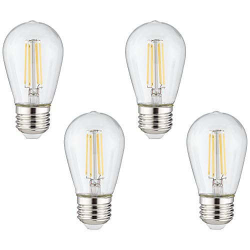 40W Equivalent Clear 4W LED ST14 Outdoor Party Light 4-Pack - Tesler