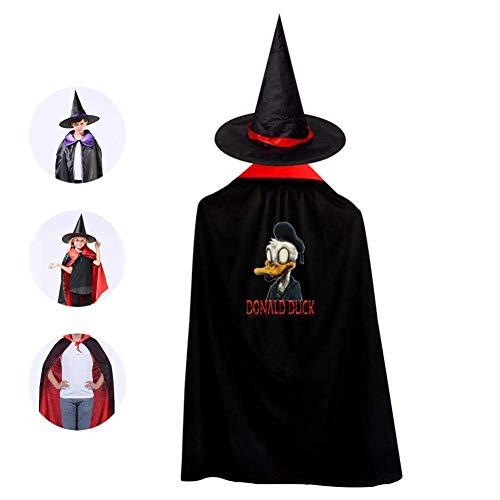 RIPO Kinder Zauberer Hexen-Umhang Halloween Donald Duck volle Länge Cape mit Hut Einheitsgröße rot