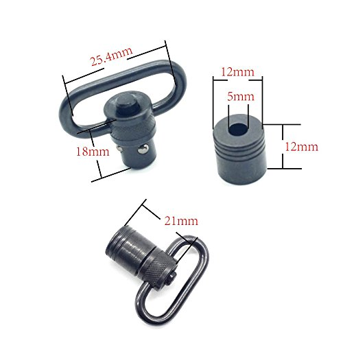 TRIROCK Sling Swivel 1.0 Inch with Push Button Quick Release Detachable and Sling Mount QD Loop Adapter 2 Sets Pack