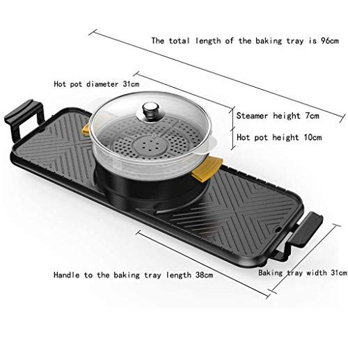 41T22XjF1HL - CJTMY Elektro-Heizung Runde-Segment Hot Pot, Dual-Purpose Pan, Drehschalter, einteiliger Pan, Geeignet for mehr als 6 Personen