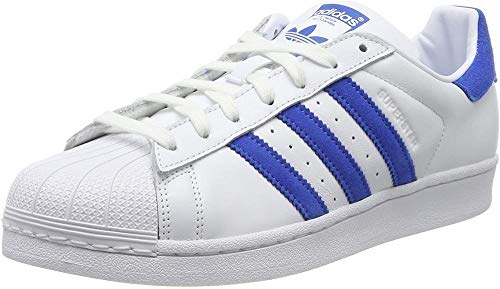 adidas Men's Superstar Low-Top Sneakers, White (Footwear White/Blue/Footwear White 0), 8.5 UK