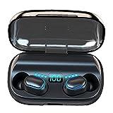 Tuimiyisou Auriculares estéreo inalámbrica Bluetooth Auriculares En la Oreja los Auriculares T11 Mini Deportes HD Auriculares con micrófono de Llamadas de Carga Caja Negro