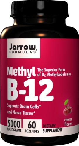 Jarrow Formulas, Methyl B-12, Cherry Flavor, 5000 mcg, 60 Lozenges. Pack of 3 bottles