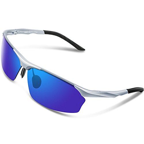TOREGE Men's Sports Style Polarized Sunglasses Al-Mg Metal Frame Glasses M292 (Sliver&Blue Lens)