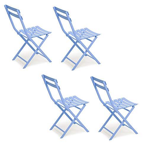 Stühle WX Xin Klappstühle 4-Pack Full Metal Klappstuhl, Outdoor & Indoor Freizeitstuhl, Bistro Garden Patio Cafe Faltbarer Strandkörbe (Farbe : Blau)