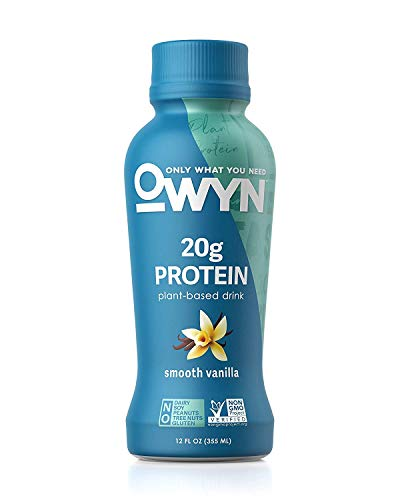 OWYN, Plant-Based Protein Shake - 100% Vegan Premier Protein Shakes, Omega 3, 20g Plant Protein, Dairy Gluten and Soy Free - Delicious Smooth Vanilla Flavour, 355ml Pack of 4