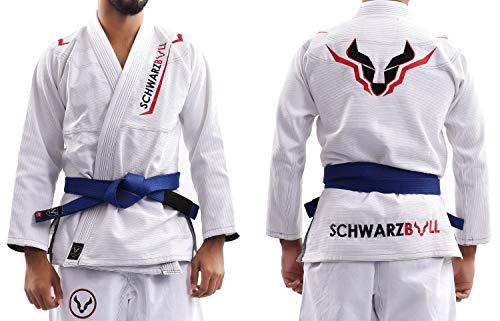 Schwarzbull Vitals,Brazilian jiu Jitsu(BJJ) Gi Kimono,100% algodón Tela con cinturón Blanco Gratis, (Blanco, A1)