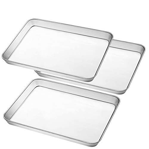 Stainless Steel Baking Pan, Large Cookie Sheet Set for Toaster Oven Tray Pans by Umite Chef, Superior Mirror Finish, Easy Clean, Dishwasher Safe, 12 x 10 x 1 inch, 3 Piece/set