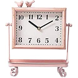 LHQ-HQ Vintage Pink Metal Glass Bird Table Clock Makeup Jewelry Tray Storage Table Clock for Home