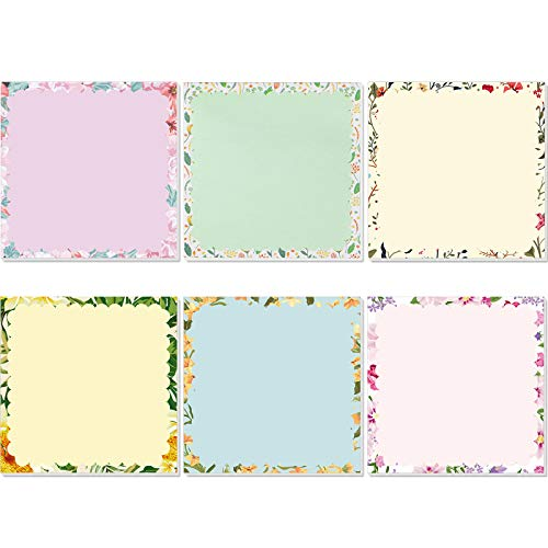 12 Pieces Floral Self-Stick Notes Flower Pastel Notepads Colorful Self-Adhesive Memo Pad 6 Styles Floral Sticky Pad for Home School Office, 50 Sheets Per Pad