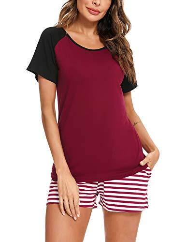 Doaraha Pijama Corto Mujer Verano Algodón Ropa de Dormir Camiseta Manga Corta con Estampado de Rayas Pantalones Cortos Conjunto de Pijamas Suave y Transpirable Dos Piezes (A# Vino Rojo, XL)